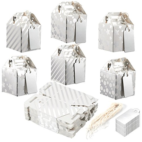 Pack of 36 Paper Treat Boxes - Gable Favor Boxes, Fun Party Play Goodie Boxes, 3 Dozen Bright Silver Birthday Party, Shower Loot Gift Boxes, 6 Designs, 2 x 2 x 2 Inches