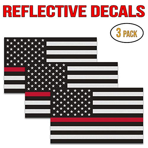 "Thin Red Line Decal – Perfect 5""x3"" UV Outdoor Laminated Flag Reflective Decal Stickers for Cars Trucks and SUVs in Support of Support of Firefighters and EMTs 3 Pack"