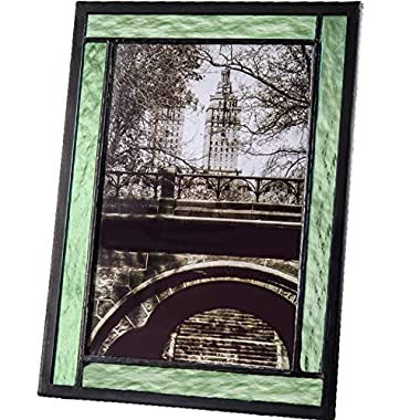J Devlin Colored Easel Back Series - Stained Glass 5x7 Picture Frame Displays Horizontally or Vertically (Green)