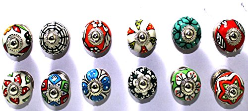 BLUE NIGHT Set of 12 Pieces Dotted Mix Color Multi Designed Ceramic Cupboard Cabinet Door Knobs Drawer Pulls & Chrome Hardware (Mix Drawer Knobs)