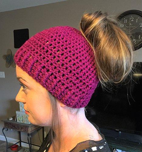 Messy Bun Hat, Crochet Messy Bun Beanie, Crochet Pony Tail Hat, Fuschia, Women's messy bun hat, teen ponytail hat, Juniors, Handmade
