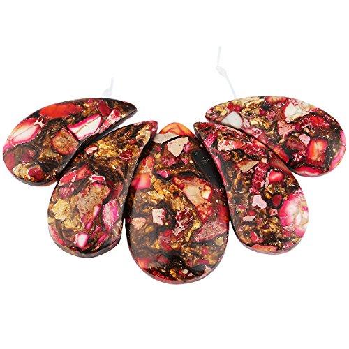- SUNYIK Copper Sea Sediment Jasper Stone Loose Bead Set for Jewelry Making,Top Trilled,Teardrop Rose
