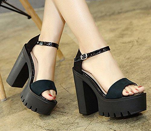 ZHUDJ Zapatos De Tacón Alto Los Zapatos De Tacón Alto De Tacón Alto Verano Punta Gruesa,Negro,36 black