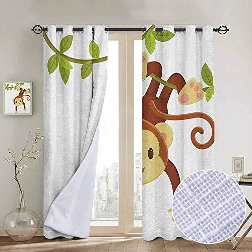 NUOMANAN Window Curtain Fabric Nursery,Cute Cartoon Monkey Hanging on Liana Playful Safari Character Cartoon Mascot, Brown Green Pink,Rod Pocket Curtain Panels for Bedroom & Living Room - Chrome Bedroom Bed Bunk