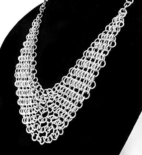 Chain Maille Drape Bib Necklace in Silver by ChainMettle Jewelry