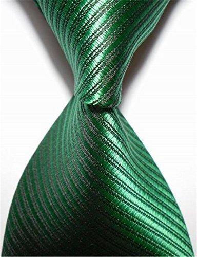 Green Necktie Tie (New Striped Green Jacquard Woven Men's Tie Necktie)