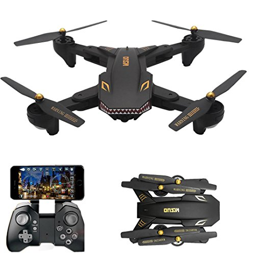 Huikai FPV WIFI Drone VISUO XS809HW with 120° FOV Wide Angle 720P HD Camera Live Video - Altitude Hold, Hovering, Headless Mode, Optical Flow (Black) by Huikai
