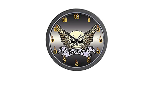 b3d553e3d Amazon.com  CafePress Rock Skull Wall Clock  Home   Kitchen