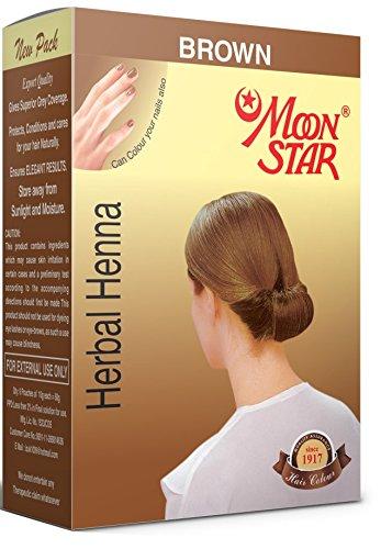MOON STAR Herbal Henna Brown Hair Colour (6 Packs of 10 Gms Each)