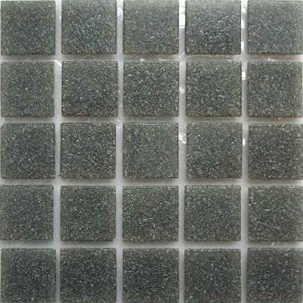 34 Square Iridized Blue Mosaic Glass Tiles for Crafts 1 Pound