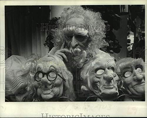 1981 Press Photo Several masks on display at costume store in Schenectady NY -
