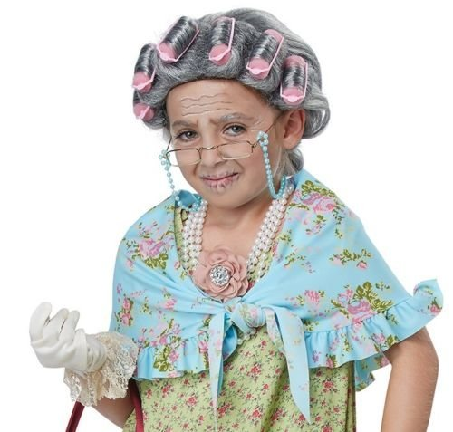California Costume Old Lady Costume Kit from PartyZoneUSA (Wig With Curlers)