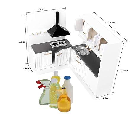 Baoblaze Modelo Gabinete de Fregadero de Cocina + Estante de Estufa + Limpiadores de Casa de