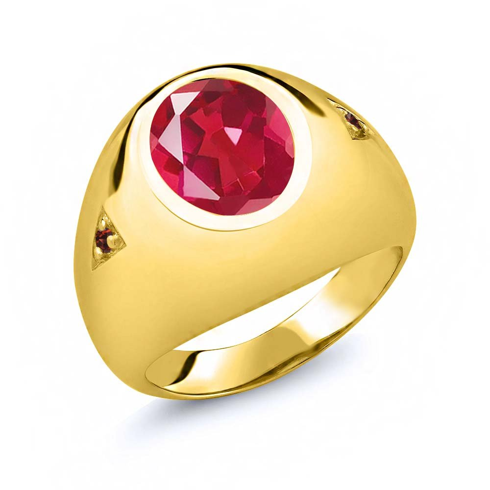 Gem Stone King 4.08 Ct Red Mystic Quartz Red Garnet 18K Rose Gold Plated Silver Mens Ring