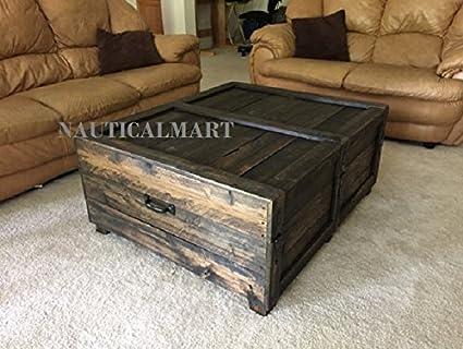 Amazon Com Nauticalmart Large Coffee Table Trunk Home Decor
