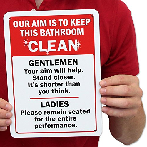 Amazon com   Our aim is to keep this bathroom clean  Gentlemen  Your aim will help  Stand closer  Sign  10 quot  x 7 quot    Industrial Warning Signs   Patio. Amazon com   Our aim is to keep this bathroom clean  Gentlemen