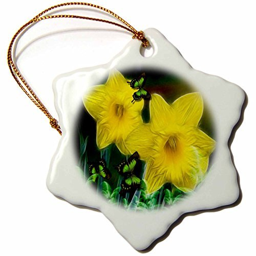 Daffodil Ornament - 3dRose Yellow Spring Daffodils Snowflake Porcelain Ornament, 3-Inch