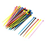 100pcs 2.5mm x 100mm Plastic Self-Locking Cable Zip Ties Colorful