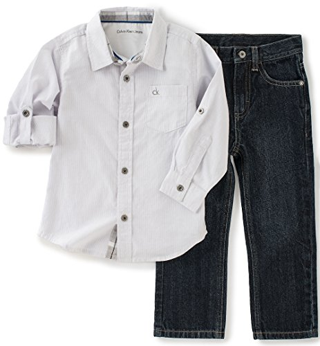 Calvin Klein Baby Shirt and Jeans Pants Set, White, 6/9 Months ()