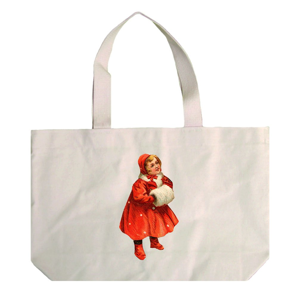 Natural Canvas Beach Tote Girl In Red Coat Vintage Look #2 By Style In Print
