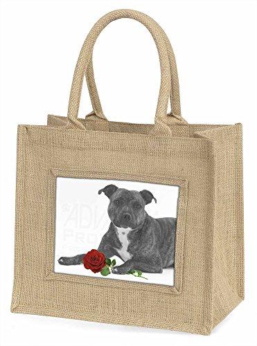 Advanta Staff Bull Terrier Hund schwarz und weiß mit rot Rose Große Einkaufstasche/Weihnachtsgeschenk, Jute, beige/natur, 42x 34,5x 2cm