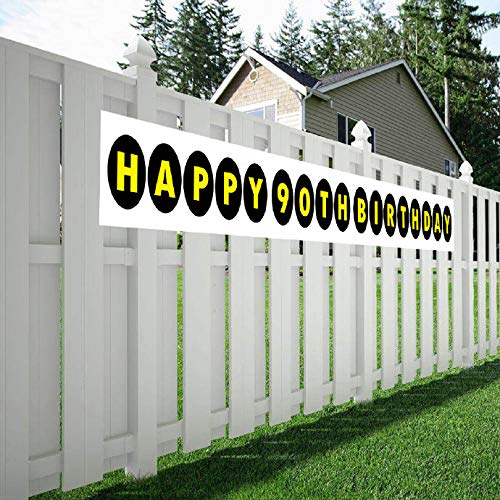 Maplelon Happy 90th Birthday Banner, 90 Birthday Party Sign Supplies Decorations]()