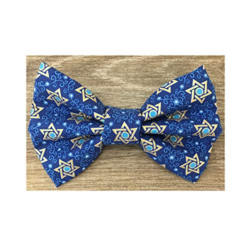 Hanukkah Dog Collar - Precious Paw Prints Boutique Sapphire + Gold Star of David Dog and Cat Bow Tie (Large)