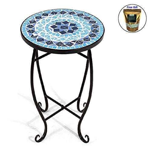 COSTWAY Mosaic Round Side Accent Table Patio Plant Stand Porch Beach Theme Balcony Back Deck Pool Decor Metal Cobalt Glass Top Indoor Outdoor Coffee End Table Blue Only by eight24hours ()