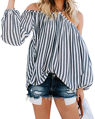 Striped Neck Shirt Open (CILKOO WomenCrewNeckSpaghetti Halter Neck Cold Shoulder Long SleeveShirtTopsTeeOpen Back Off The Shoulder Blouse Tops Gray US16-18 X-Large)