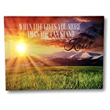 Banberry Designs When Life Gets Too Hard To Stand.Kneel - LED Lighted Canvas Print with Sunset - Christian Wall Art