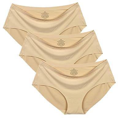 c86edec523f CHAOSHUO Womens Seamless Brief Plus Size Panties One Piece Underwear(3  Beige