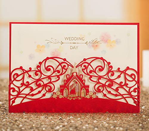 WISHMADE 1 Sample Red Crown Laser Cut Wedding Invites, Personalized Invitation Card with Envelope Kit, for Engagement Bridal Shower Wedding -