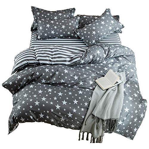 Hxiang 3-pieces Bedding Duvet Cover Set TMicrofiber, White And Grey Stars Stripes Prints Floral Patterns Design,Without Comforter 1 Duvet Cover+2 Pillowcases (Full)