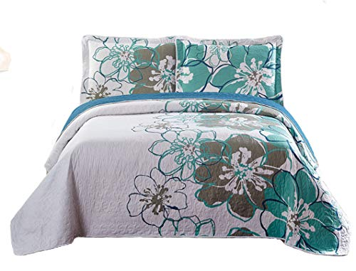 Quilted Collection Bedding (Mk Collection 3pc King Size Reversible Quilted Bedspread Set Flowers White Green Gray New)