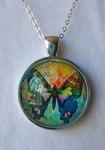 Rainbow Butterfly Glass Dome Circle Pendant Necklace 18 Inch - Necklace Rainbow Butterfly