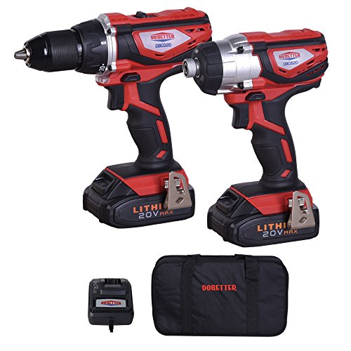 Dobetter DBCD/CIS20 20V MAX Lithium-Ion 1/2 inch Cordless Drill /Driver &1/4 inch Impact Driver Combo Kit - 2 Packs, Fast Charger, Tote Bag by Dobetter