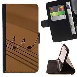 For Sony Xperia Z3 Compact / Z3 Mini (Not Z3) Case , La notación musical- la tarjeta de Crédito Slots PU Funda de cuero Monedero caso cubierta de piel