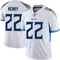 WWJIE Titans # 22 Henry Rugby Jersey, Camiseta para Hombre, Camiseta de Juego-White-S