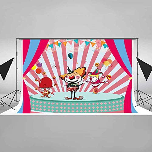 EARVO Background 7x5ft Joker Circus Show Photography Background Carnival Party Favor Supplies Cotton Backdrop Photo Studio Props -