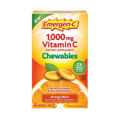 Emergen-C 1000 mg Vitamin C Chewables, Orange Blast 40 ea Pack of 5 by Emergen-C