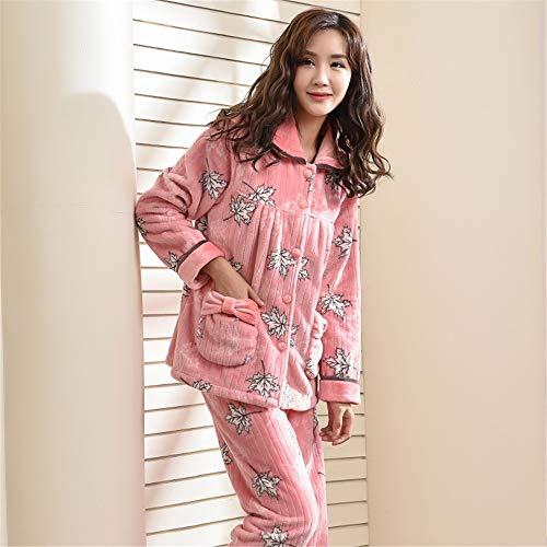 Size Xl162 Pajamas Fleece 58 65kg Autumn Cardigan Warm Homewear Long Sleeve Coral Women's 168cm Large Pajamasx Thicken And Set Winter 7BYxdwwqa