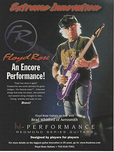 Magazine Print ad: 2005 Floyd Rose Redmond Series Guitars, Speedloader Bridges, with Brad Whitford of Aerosmith,