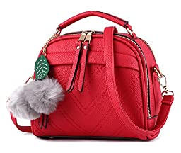 ilishop PU Leather Handbags Shoulder Bags Tote Bags with Balls (Red)