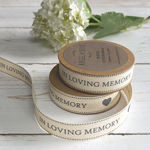 ANGEL & DOVE 'in Loving Memory' Printed Cotton Ribbon - 5.4 Yards on Kraft Card Reel - Ideal for Funeral Favours, Sympathy Gift -