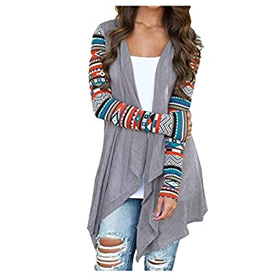 AuntTaylor Womens Cardigans Solid High Low Long Sleeve Boho Open Front Blouses Cardigans