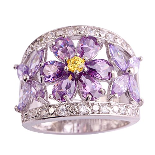 Narica Womens Charming Pear Cut Amethyst & Citrine Flower Shaped Cluster Cocktail Ring