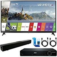 LG 49UJ6300 49 UHD 4K HDR Smart LED TV (2017 Model) + HDMI 1080p High Definition DVD Player + Solo X3 Bluetooth Home Theater Sound Bar + 2x HDMI Cable + LED TV Screen Cleaner