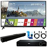 LG 49UJ6300 49' UHD 4K HDR Smart LED TV (2017 Model) + HDMI 1080p High Definition DVD Player + Solo X3 Bluetooth Home Theater Sound Bar + 2x HDMI Cable + LED TV Screen Cleaner
