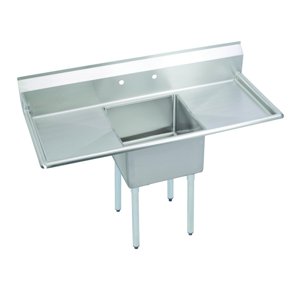 Fenix Sol One Compartment Stainless Steel Sink, Bowl: 16''L x 20''W x 12''D, Overall Size: 52''L x 25.5''W x 43.75''H, 2 x 18'' Drainboards, Galv Legs
