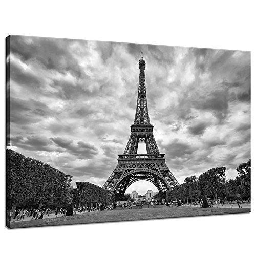 Live Art Decor- Eiffel Tower Canvas Wall Art Modern Wall Decoration Art Large Paris Landscape Picture Photography Giclee Print on Canvas Inner Wood Frame Cityscape Wall Art Easy - White Paris Black Photography